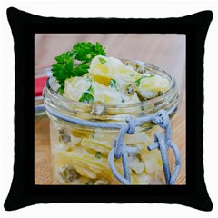 Potato Salad In A Jar On Wooden Throw Pillow Case (black)