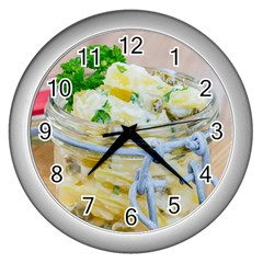 Potato salad in a jar on wooden Wall Clocks (Silver)