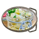 Potato salad in a jar on wooden Belt Buckles Front
