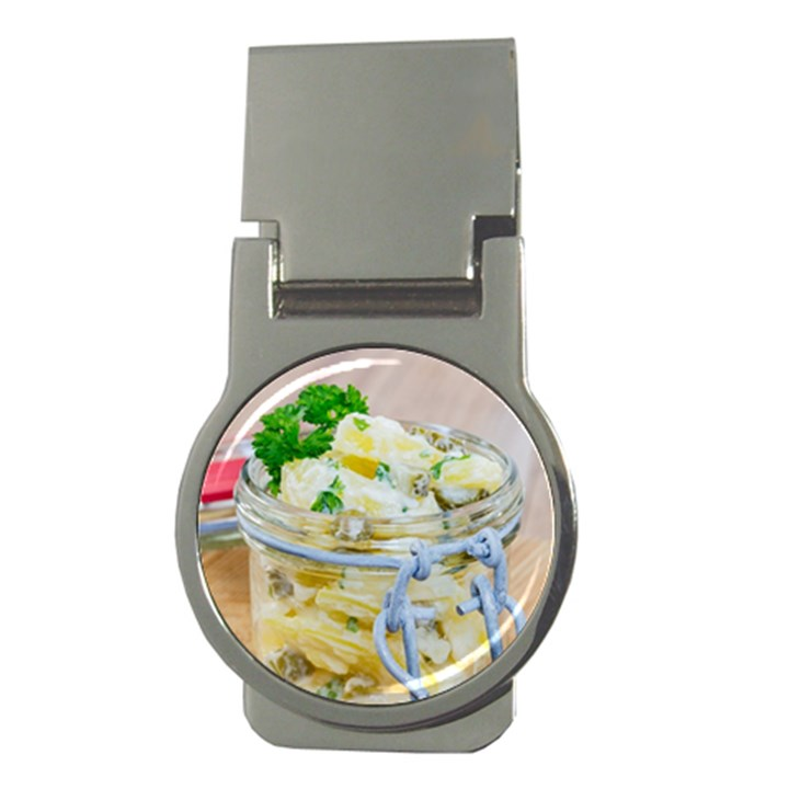 Potato salad in a jar on wooden Money Clips (Round)