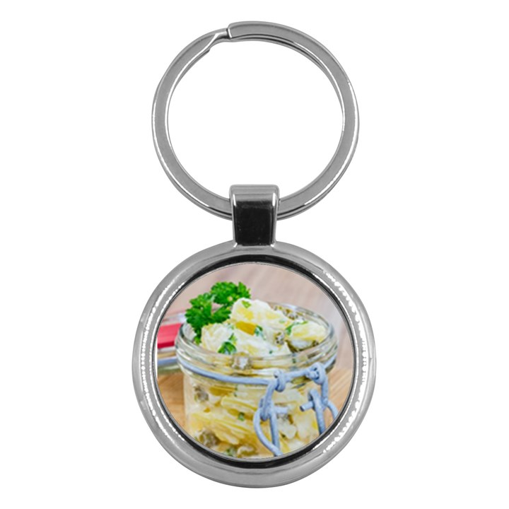 Potato salad in a jar on wooden Key Chains (Round)