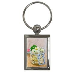 Potato salad in a jar on wooden Key Chains (Rectangle)