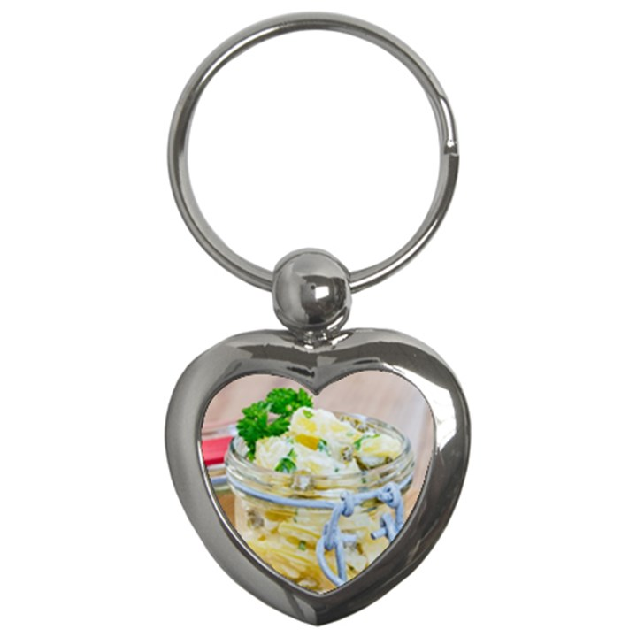 Potato salad in a jar on wooden Key Chains (Heart)
