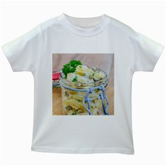 Potato Salad In A Jar On Wooden Kids White T Shirts by wsfcow