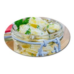 Potato salad in a jar on wooden Oval Magnet