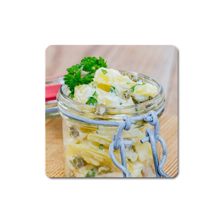 Potato salad in a jar on wooden Square Magnet