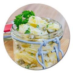 Potato Salad In A Jar On Wooden Magnet 5  (round) by wsfcow