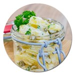 Potato salad in a jar on wooden Magnet 5  (Round) Front