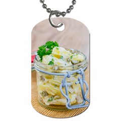 Potato salad in a jar on wooden Dog Tag (One Side)