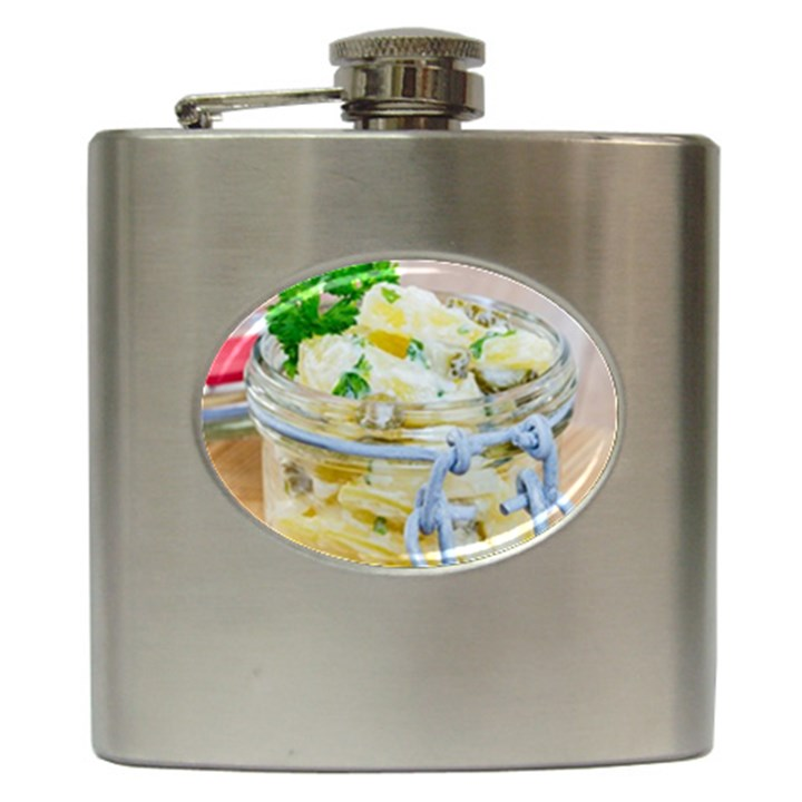 Potato salad in a jar on wooden Hip Flask (6 oz)
