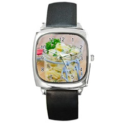Potato salad in a jar on wooden Square Metal Watch