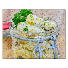 Potato salad in a jar on wooden Rectangular Jigsaw Puzzl