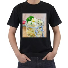Potato salad in a jar on wooden Men s T-Shirt (Black) (Two Sided)