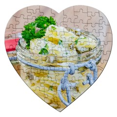 Potato Salad In A Jar On Wooden Jigsaw Puzzle (heart) by wsfcow