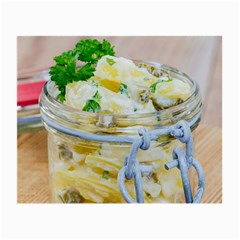 Potato Salad In A Jar On Wooden Small Glasses Cloth