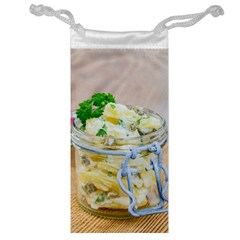 Potato salad in a jar on wooden Jewelry Bags