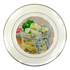 Potato Salad In A Jar On Wooden Porcelain Plates