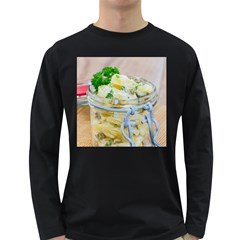 Potato salad in a jar on wooden Long Sleeve Dark T-Shirts