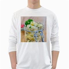 Potato salad in a jar on wooden White Long Sleeve T-Shirts