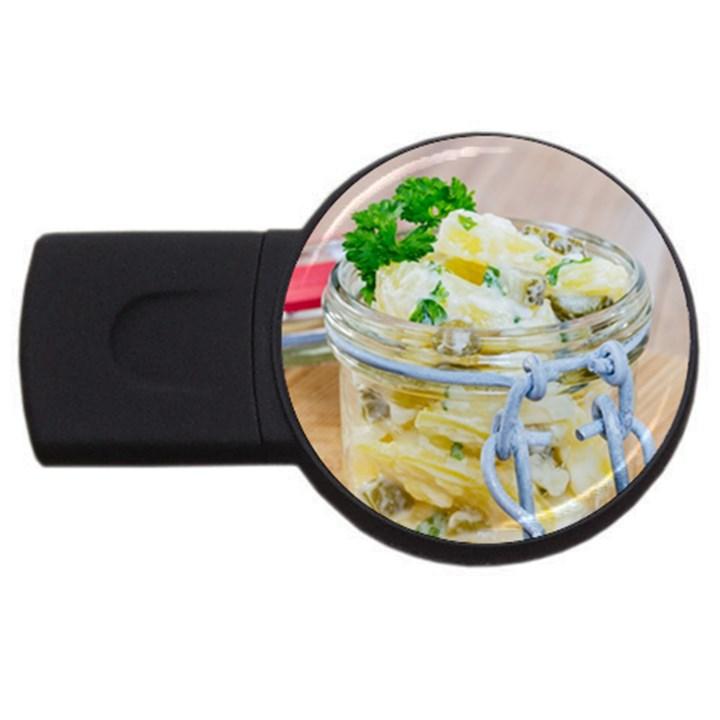 Potato salad in a jar on wooden USB Flash Drive Round (4 GB)