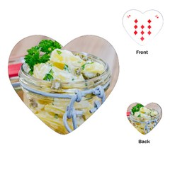 Potato Salad In A Jar On Wooden Playing Cards (heart)  by wsfcow