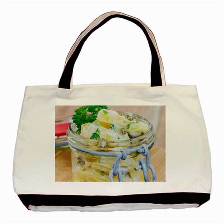 Potato salad in a jar on wooden Basic Tote Bag