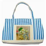 Potato salad in a jar on wooden Striped Blue Tote Bag Front