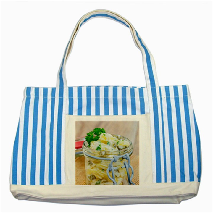 Potato salad in a jar on wooden Striped Blue Tote Bag