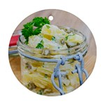 Potato salad in a jar on wooden Round Ornament (Two Sides)  Front
