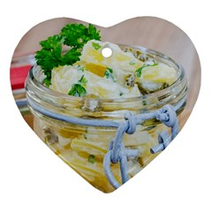 Potato salad in a jar on wooden Heart Ornament (2 Sides)