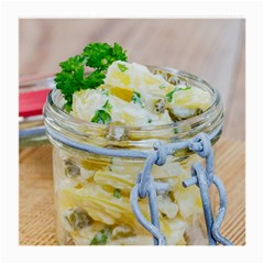 Potato salad in a jar on wooden Medium Glasses Cloth