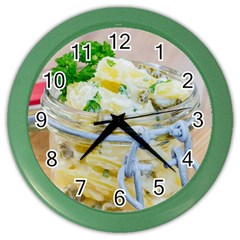 Potato Salad In A Jar On Wooden Color Wall Clocks by wsfcow