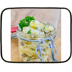 Potato Salad In A Jar On Wooden Double Sided Fleece Blanket (mini)