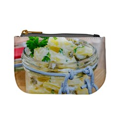 Potato salad in a jar on wooden Mini Coin Purses