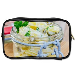 Potato salad in a jar on wooden Toiletries Bags