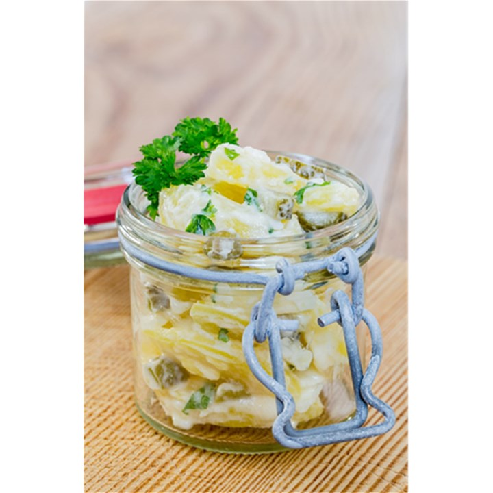 Potato salad in a jar on wooden 5.5  x 8.5  Notebooks