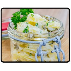 Potato salad in a jar on wooden Fleece Blanket (Medium)