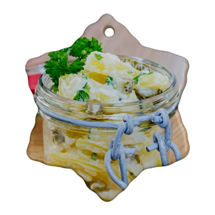 Potato salad in a jar on wooden Ornament (Snowflake)