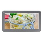 Potato salad in a jar on wooden Memory Card Reader (Mini) Front