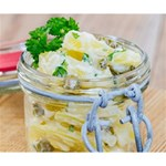 Potato salad in a jar on wooden Deluxe Canvas 14  x 11  14  x 11  x 1.5  Stretched Canvas
