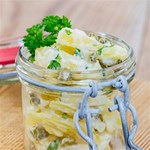 Potato salad in a jar on wooden Twin Hearts 3D Greeting Card (8x4) Inside