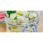 Potato salad in a jar on wooden Twin Hearts 3D Greeting Card (8x4) Back