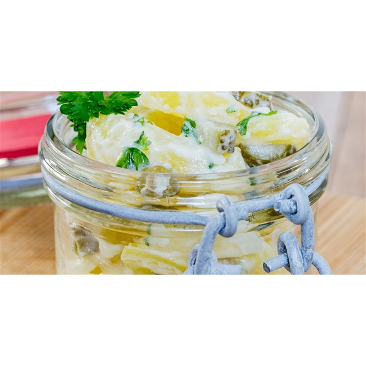 Potato salad in a jar on wooden YOU ARE INVITED 3D Greeting Card (8x4)