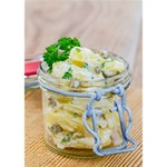 Potato salad in a jar on wooden Circle Bottom 3D Greeting Card (7x5) Inside