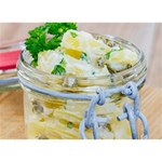 Potato salad in a jar on wooden Circle Bottom 3D Greeting Card (7x5) Back
