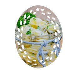 Potato salad in a jar on wooden Oval Filigree Ornament (2-Side)