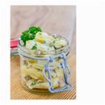 Potato salad in a jar on wooden Large Garden Flag (Two Sides) Back