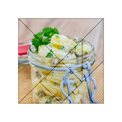 Potato salad in a jar on wooden Acrylic Tangram Puzzle (4  x 4 )