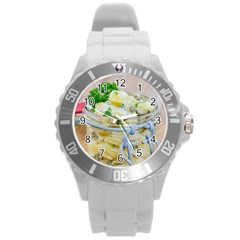 Potato Salad In A Jar On Wooden Round Plastic Sport Watch (l) by wsfcow