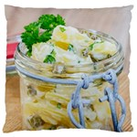 Potato salad in a jar on wooden Large Cushion Case (Two Sides) Front